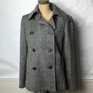 J.Crew wool herringbone pea coat